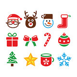 Christmas colorful icons set - Santa, present, tree, Rudolf