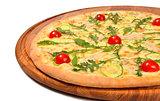 Pizza with tomato mozzarella and meat