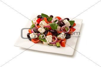 Greek salad in a salad bowl