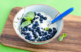 Fresh yogurt with blueberry and mint