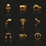 Golden web icons set