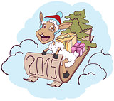 Sheep on a sledge with gifts. Symbol 2015