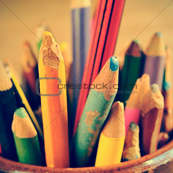 coloured pencils, with a retro effect