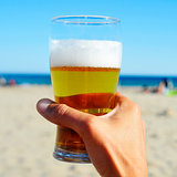 refreshing beer on the beach