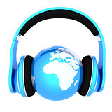 World music 3D render of planet Earth with headphones