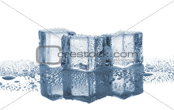 Three melted ice cubes