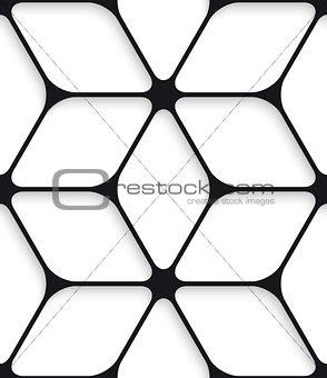 Black hexagon net seamless pattern