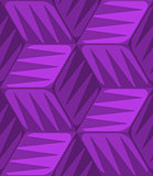 Purple 3d cubes striped with triangles seamless pattern