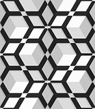 White 3d cubes with hexagonal net on seamless pattern
