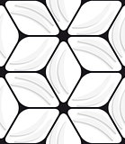 White banana shapes and black hexagon net seamless pattern