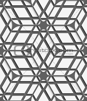 White geometrical detailed with gray net on gray seamless patter