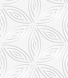 White geometrical flower like shapes perforated seamless pattern