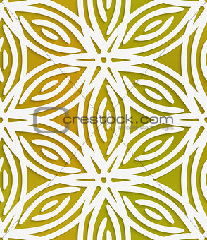 White geometrical flower on mesh seamless pattern