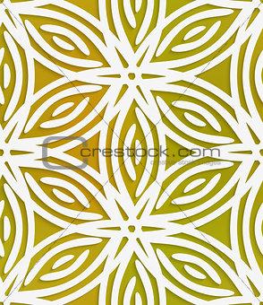 White geometrical flower on mesh seamless pattern