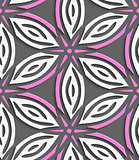 White geometrical flowers with pink stars on gray seamless patte