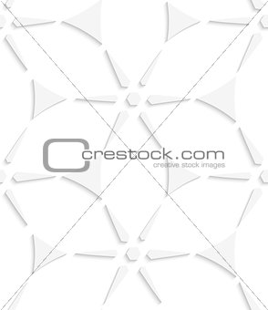 White geometrical triangles and stars seamless pattern