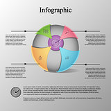 Modern infographic template with sphere on color