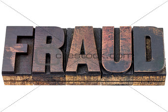 fraud word in wood type