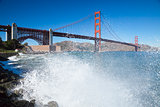 Golden Gate Bridge with the waves