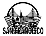 San Francisco Skyline Golden Gate Bridge Black and White Illustr