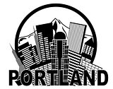 Portland Oregon Skyline Mt Hood Black and White Illustration