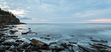 Panorama of ocean shore in the morning (Slow shutter speed)