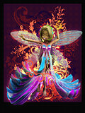 Fairy on vintage swirls background