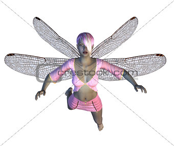 Fairy with pink dragonfly wings