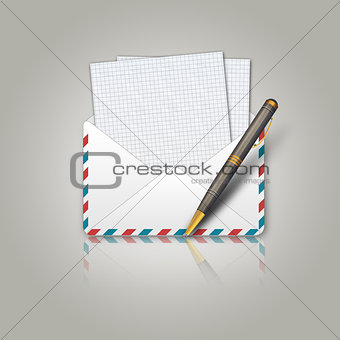Postal envelope and pen