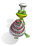 frog chef with cake