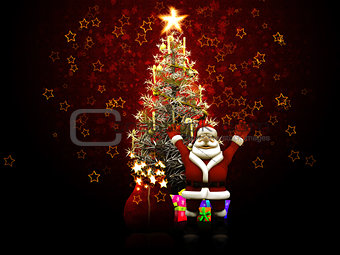 Santa Claus with arms up