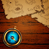 marine theme, compass and old map