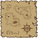 marine theme, old map