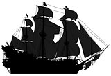 marine theme, silhouette sailboat