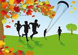 Children in autumnal scenery