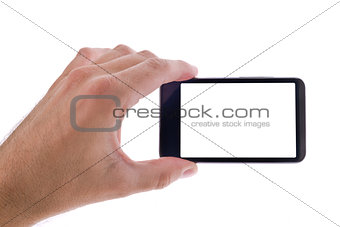 Hand holding generic mobile phone with blank screen