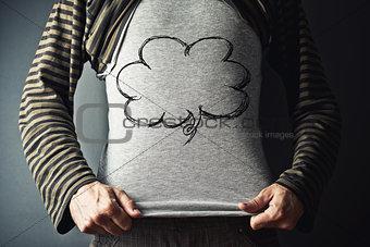 Casual man with rhinking baloon cloud