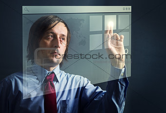 Businessman with touch screen