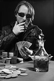 Cigar smoking poker player