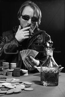 Cigar smoking poker player