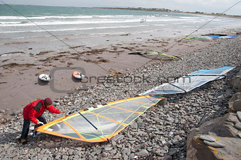Atlantic windsurfer getting ready
