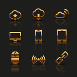 Golden web icons set. Vector illustration.