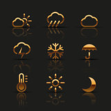 Golden weather icons set
