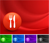 Utensil Icon on Multi Colored Abstract Wave Background