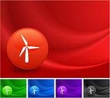 Wind Turbine Icon on Multi Colored Abstract Wave Background
