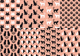 cat and dog seamless pattern, vector