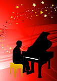 Piano Musician on Abstract Red Background