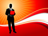 Businessman on Red Wave Background