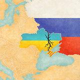 Map of Ukraine with Crack