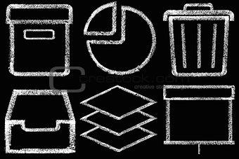 Sketched internet icons set